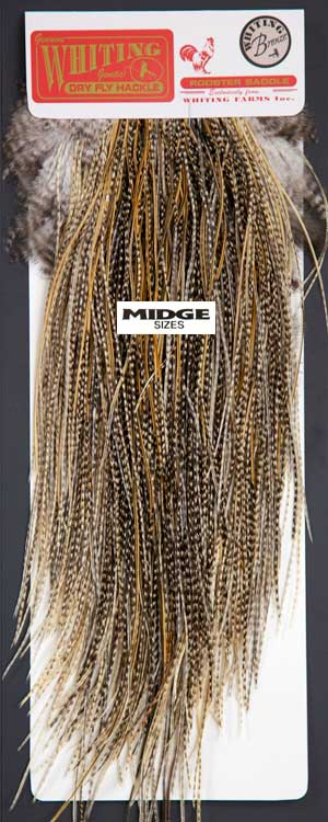Angelsport-Köder, -Futtermittel & -Fliegen Fly Tying Whiting Bronze Rooster Midge Saddle Grizzly dyed  Dark Olive #A Angelsport-Fliegen-Bindematerialien